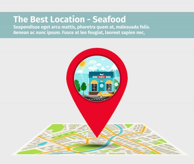 La mejor ubicación de mariscos.