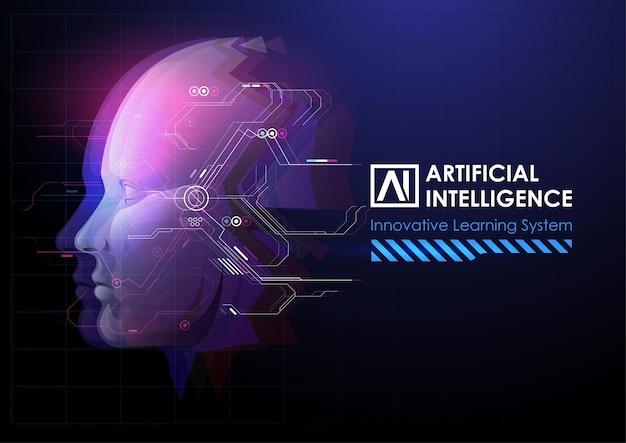 Mejora de cabeza humana o robot.
