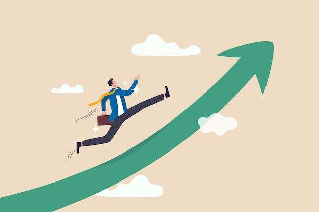 Mejora en el trabajo, trayectoria profesional para crecer, logros y éxito en el trabajo o liderazgo para ganar el concepto de negocio
