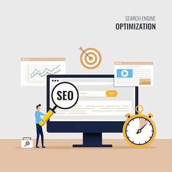 Mejorar la clasificación en el motor de búsqueda, el tráfico del motor de búsqueda, probar la ilustración de seo del sitio web