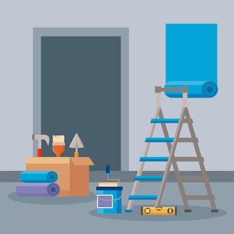 Mejoras en el hogar en la escena del proceso.