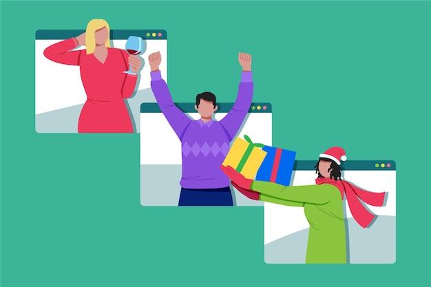 Mejores amigos celebrando la navidad en línea debido a la cuarentena