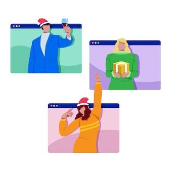 Mejores amigos celebrando la navidad en línea debido a una pandemia
