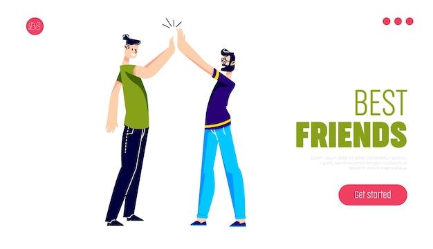 Mejores amigos dando cinco saludos o felicitando por el éxito.