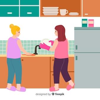 Mejores amigos haciendo tareas domésticas juntos
