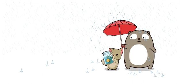 Mejores amigos con paraguas