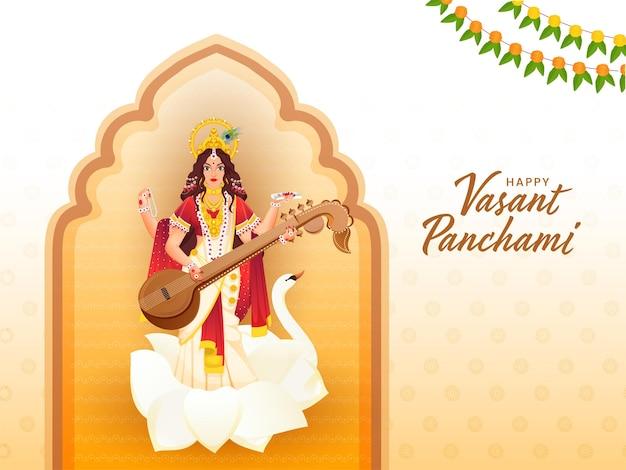 Los mejores deseos del texto hindi de vasant panchami con la escultura de la diosa saraswati
