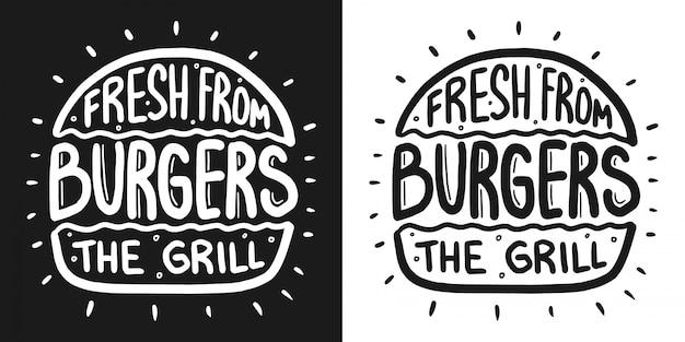 Las mejores letras de hamburguesa con rayas y bollo grabado.