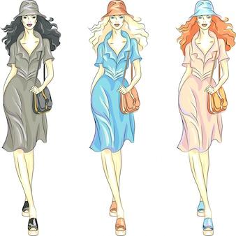 Las mejores modelos de moda para niñas en vestidos y sombreros