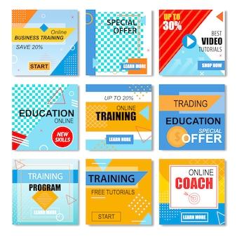 Las mejores ofertas de educación, conjunto de historias de aprendizaje en línea