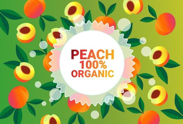Melocotón fruta círculo colorido copia espacio orgánico