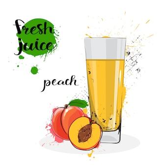 Melocotón jugo fresco dibujado a mano acuarela fruta y vidrio sobre fondo blanco