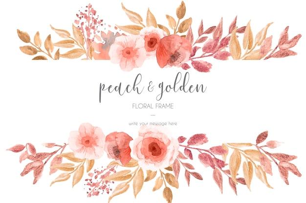Melocotón y marco floral dorado