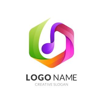 Melodía logo y plantilla de icono hexagonal, diseño colorido