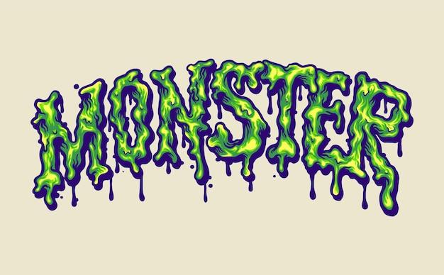 Melted monster font hand lettering ilustraciones vectoriales para su trabajo logotipo, camiseta de mercancía de mascota, pegatinas y diseños de etiquetas, carteles, tarjetas de felicitación, publicidad de empresas comerciales o marcas.