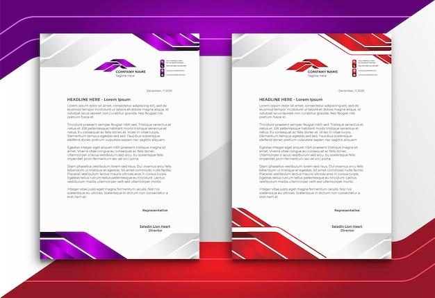 Membrete en estilo moderno abstracto púrpura y rojo