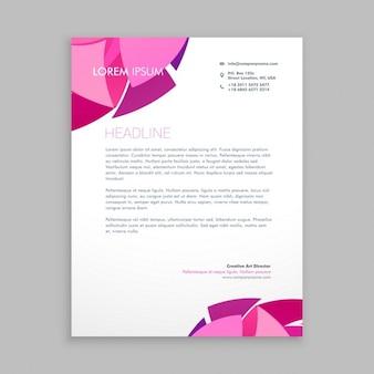 Membrete de negocio con formas rosas