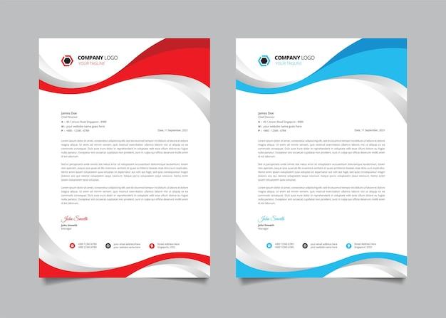 Membrete de negocios corporativos con forma curva roja y azul