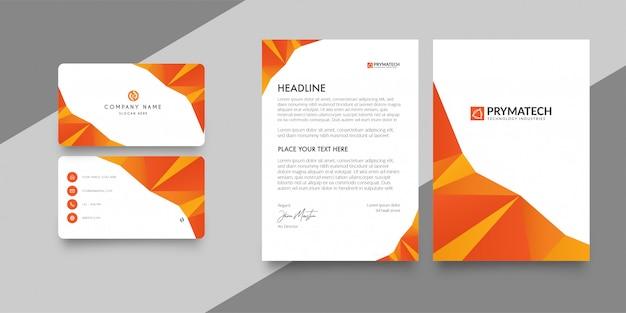 Membrete y tarjeta de presentación del paquete corporativo.