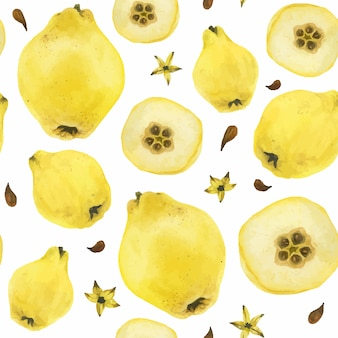 Membrillo amarillo frutas de patrones sin fisuras