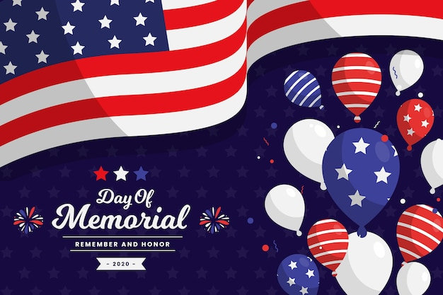Memorial day con bandera y globos