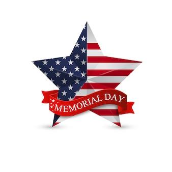 Memorial day con estrella en la bandera nacional de estados unidos.