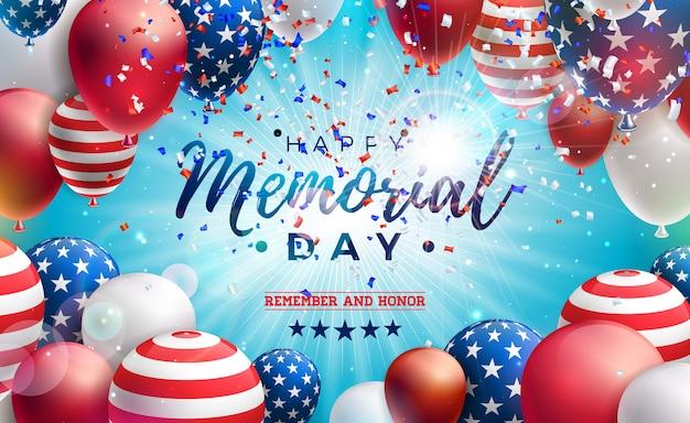 Memorial day de la plantilla de diseño de estados unidos con bandera americana globo aerostático y confeti cayendo sobre fondo azul brillante. ilustración de celebración patriótica nacional para banner o tarjeta de felicitación