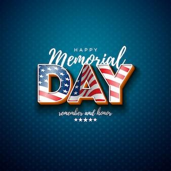 Memorial day de la plantilla de diseño de estados unidos con la bandera americana en letra 3d sobre fondo de patrón de estrella de luz. ilustración de celebración patriótica nacional para pancarta, tarjeta de felicitación o póster de vacaciones