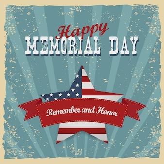 Memorial day, recuerda y honra. tarjeta de felicitación. invitación a fiesta de letras a mano. ilustración de tipografía vintage con estrella y rayas. patrones retro para carteles, flayers y diseños de banner.