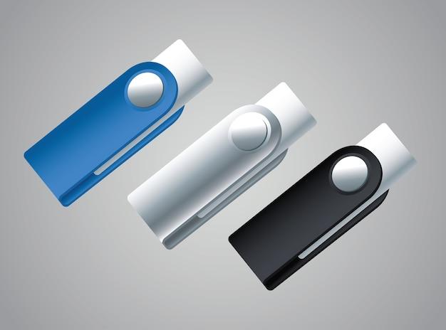 Las memorias usb flash maqueta iconos diseño ilustración vectorial