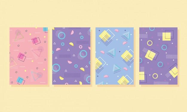 Memphis cubre plantillas de colecciones abstractas con formas geométricas
