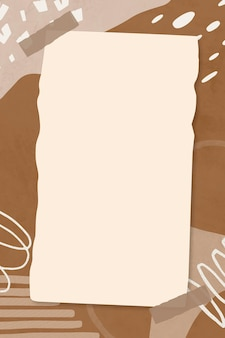 Memphis note collage de papel beige sobre fondo abstracto marrón