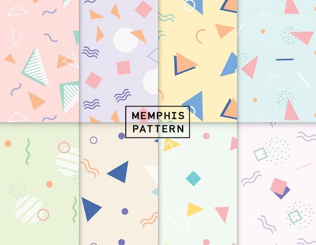 Memphis pastel seamless pattern pack
