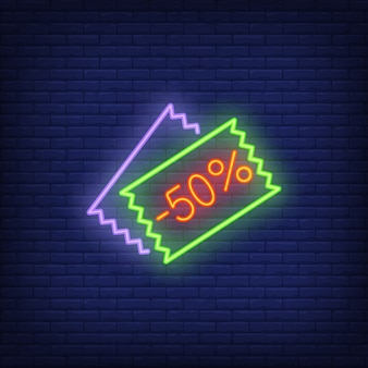 Menos cupones de descuento del cincuenta por ciento. elemento de signo de neón anuncio brillante de la noche.