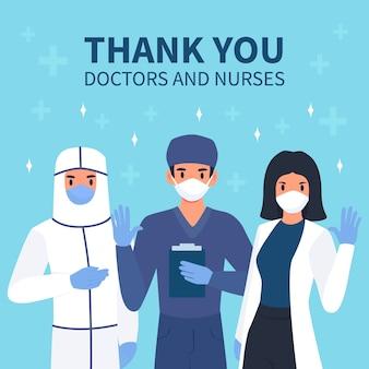 Mensaje de agradecimiento para médicos y enfermeras.