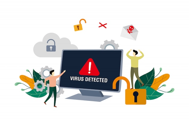 Mensaje de alerta de virus detectado, identificación de virus informático, piratería de seguridad con personas pequeñas