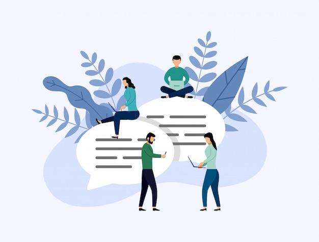 Mensaje de chat de burbujas, chat de personas en línea, concepto de negocio