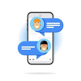 Mensaje de chat en el teléfono inteligente. ilustración, dibujos animados planos sms burbujas en la pantalla del teléfono móvil, sobre fondo blanco. hombre hablando por celular con mujer.