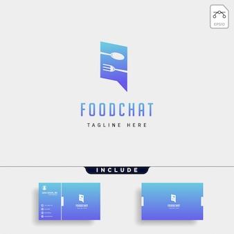 Mensaje de comida conversación chat línea esquema simple plano logo