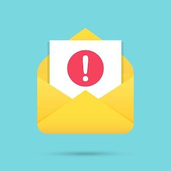 Mensaje de correo electrónico con icono de atención en un diseño plano