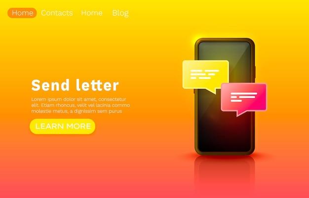 Mensaje de correo electrónico móvil, chat de internet, diseño de banner de sitio web.