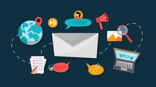 Mensaje de correo electrónico en el teléfono inteligente. idea de comunicación global y notificación en buzón. ilustración