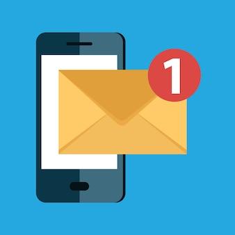 Mensaje de correo electrónico entrante y concepto de servicio de entrega de correo