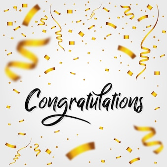 Mensaje de felicitaciones con confeti