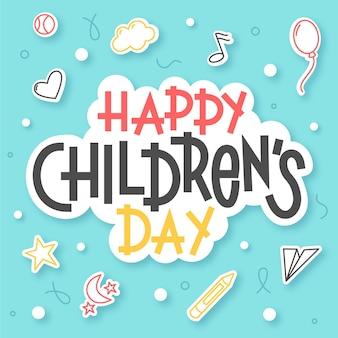 Mensaje del día mundial del niño dibujado a mano