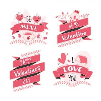 Mensaje de feliz día de san valentín como be mine, be my valentine, i love you font con cartoon heart couple sobre fondo blanco.