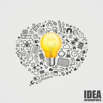 Mensaje de los iconos con bombilla. iconos de idea de chat, lámpara de chat que muchos cantan, ilustración vectorial