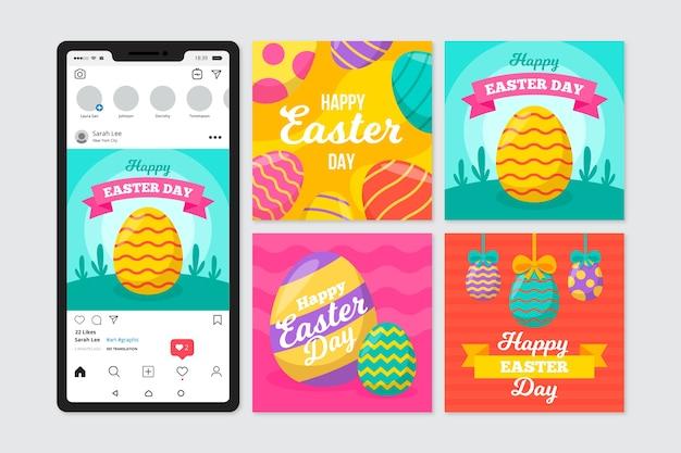 Mensaje de instagram del día de pascua con huevos coloridos