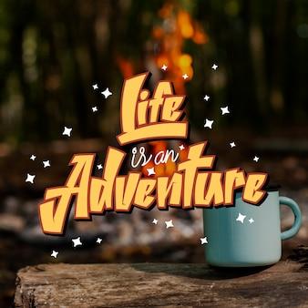 Mensaje de letras positivas de aventura