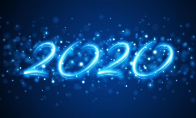 Mensaje de letras de vacaciones abstractas de año nuevo 2020 y brillante ilustración de luces bokeh